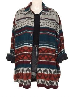 3da1884a4e719 True Vintage Azteken Ethno Muster Hemd Oversize Hippie Boho Style Unisex