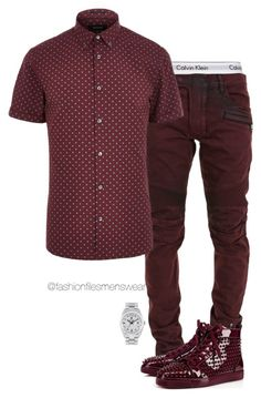 """""""Ox Blood"""" by highfashionfiles ❤ liked on Polyvore featuring Calvin Klein Underwear, Balmain, River Island, Rolex, men's fashion and menswear"""