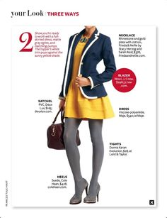 Three Ways InStyle magazine, December People Style Watch, Fashion News, Fashion Outfits, Instyle Magazine, Yellow Fashion, Shades Of Yellow, Everyday Fashion, Tights, Dress Up