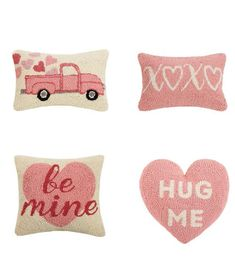 HOOK PILLOWS by Peking Handicraft: CUPID'S TRUCK, XOXO, BE MINE and HUG ME HEART SHAPED Hug Me, Cupid, Handicraft, Valentine Day Gifts, Heart Shapes, Truck, Pillows, Holiday, Cards