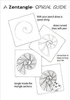 A zentangle spiral guide | Zentangle pattern idea | Step-by-step