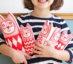"Screen Printed Scandinavian Toy Kit To Make 6 x Cats ~ via this Etsy Store, ""Jane Foster""."