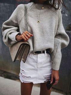 grey knit + white denim skirt. #style #fashion