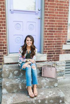 The Best Boyfriend Jeans via Glitter & Gingham // Michael Kors Mercer Tote // Madewell Jeans // Michael Kors Platforms // LOFT Top // Kendra Scott Earrings // Spring Outfit Inspiration // Spring Outfit Idea