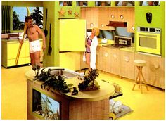 """The Kitchen of the Future"" - 1940s-1960s - The Dream kitchen used to be big, big enough to swing a water ski in. To have an aquarium in the island. But as we urbanize and move into smaller spaces, the kitchen has to adapt to the time and the space available."