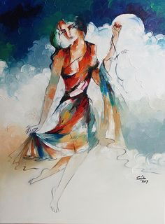 Passion That Makes You Dance Abstract art painting print vaughan canada. by Sajida Hussain Horse Oil Painting, Oil Painting On Canvas, Figure Painting, Painting Prints, Painting & Drawing, Paintings, Modern Artwork, Creative Portraits, Figurative Art
