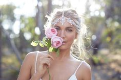 Beautiful headpiece by Anna Campbell as seen in the 'Wild Love' editorial directed and photographed by 35mm Wedding Photography. Check out more on our blog!  Flowers Sugarbee Flowers / Makeup Artist and Hair Janice Wu / Model Natalie Darcas