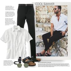 Cool Summer 4 by gracekathryn on Polyvore featuring Givenchy, Birkenstock, Lacoste, Ray-Ban, Tiger of Sweden, Tod's, men's fashion, menswear, Summer and mens