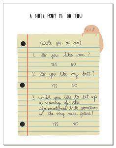 Secret Butt Note Notecard