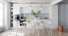 Créateurs d'intérieur - Cuisine base blanc crédence marbre