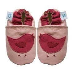 Dotty Fish - Chaussures de bébé en cuir souple Motif d'oiseau rose - 0-6 mois…