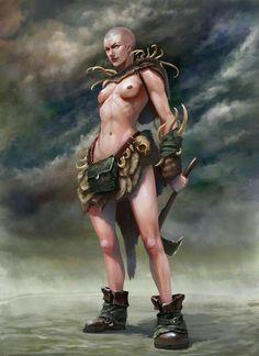 Serious girl on Behance Warrior Girl, Fantasy Warrior, Fantasy Girl, Dark Fantasy, Female Character Design, Character Design Inspiration, Character Concept, Character Art, Fantasy Characters