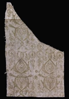 Printed linen fabric late 14th c Germany