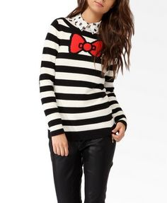 hello kitty sweater: check. stripes and print mixed together: check. black, white and red: check. GOOD OUTFIT IS GOOD