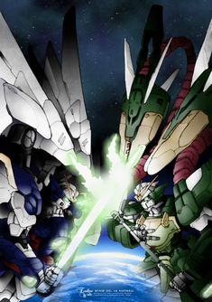 a collection of gundam artwork from around the web Gundam Wing, Gundam Art, Outlaw Star, Gundam Wallpapers, Frame Arms Girl, Gundam Mobile Suit, Cool Robots, Mecha Anime, Anime Fantasy