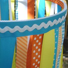 Ribbon Mobile in Aqua Yellow and Orange by PolkaDotSkies on Etsy