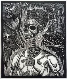 Prints and biography: Daniel Gonzalez Los Angeles Chicano artist Woodcuts and linocuts prints. Baphomet, California College Of Arts, Feathered Serpent, Etching Prints, Chicano Art, Contemporary Landscape, Linocut Prints, Art Techniques, Art Day