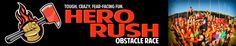 """Hero Rush: Race through a 5k+ course of heroic (and unique!) obstacles — slide, climb, get wet, get lost, get WETTER, make some saves and a ton more. We'll surround you with our Inferno Midway with even more themed challenges, a great adventure (and educational) course for kids, awesome """"experience"""" components — and all the food, drink and entertainment you love!"""