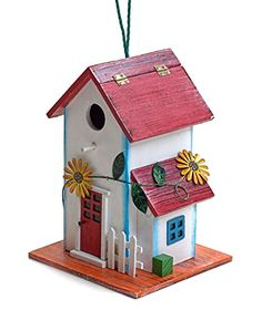 Hand-painted Wooden Birdhouse with Flowers Outdoor Garden Decor by Bo Toys. |  http://landscapeandlighting.net