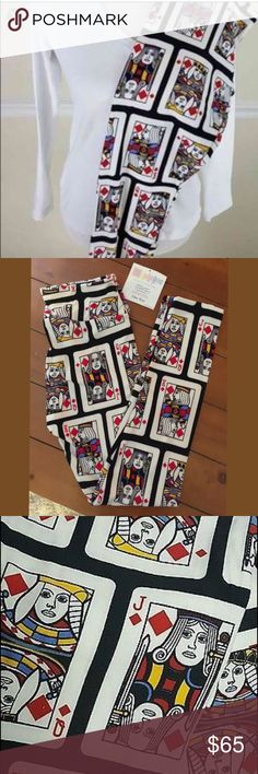 BNWT Lularoe playing cards red in OS♦️♥️ BRAND NEW Lularoe leggings in one size (2-10) super cute. I just purchased two over retail and the other person changed their mind. I have an extra one♥️♦️♣️♠️ LuLaRoe Pants Leggings