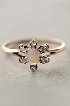 Opal & Diamond Flower Ring