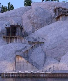 igor sirotov architects has constructed PS1 house into alpine rock face in russia