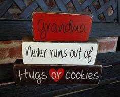 Decorative wood blocks Grandma never runs out of hugs by jjnewton, $14.00