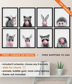 Woodland Animals Blowing Bubble Gum, Black and White Baby Animal Prints, Forest Friends Pictures for Baby, Pink Girl Room Decor Cute Nursery – Etsy - Baby Animals Woodland Animal Nursery, Woodland Animals, Nursery Prints, Nursery Art, Blowing Bubble Gum, Pink Forest, Black And White Baby, Forest Friends, Friend Pictures