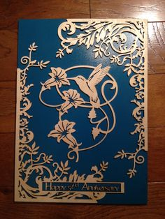 custom laser cut scroll saw pattern-humming bird anniversary