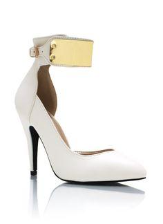 Metallic Plate Ankle Strap Heels