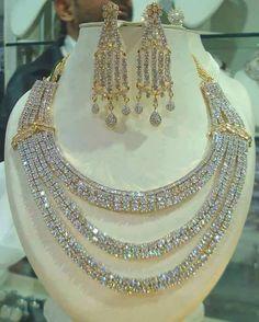 Three strands of diamonds Jewelry Art, Wedding Jewelry, Antique Jewelry, Gold Jewelry, Jewelry Accessories, Fine Jewelry, Jewelry Necklaces, Jewelry Design, Fashion Jewelry