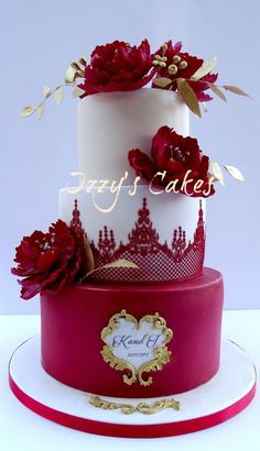 Ruby Wedding Anniversary Cake by Izzy's Cakes - http://cakesdecor.com/cakes/221217-ruby-wedding-anniversary-cake