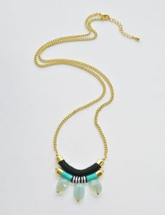 NEW Long Statement Necklace with Aqua Chalcedony by CoralandStone