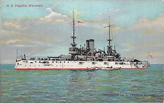 U.S.SFlagship WISCONSIN - Battleship -Great White Fleet c.1907 Enrique Muller