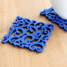 laser-cut felt coaster - four pack - blue swirls by alljoy - This pack of four square swirls coasters in royal blue is laser cut from felt by the small Dublin-based maker, Alljoy Design (so named because they love to spread joy with their fab products!). The li