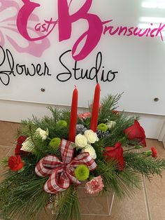 Floral arrangement by customer from the Dec 2019 class! Sign-up and learn how to do it yourself! Floral Arrangement Classes, Floral Arrangements, East Brunswick, Flower Studio, Girls Night Out, Christmas Wreaths, Floral Design, Holiday Decor, Flowers