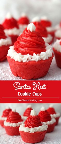 Santa Hat Cookie Cups are a fun Holiday take on a Frosted Sugar Cookie. Adorable, delicious and easy to make they will be instant family favorite Christmas Cookie. Make your family a Christmas Treat that they are sure to love! (They'd be a great for a Cookie Exchange too!) Follow us for more more great Christmas Dessert ideas.