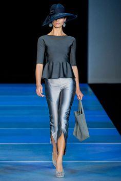 Baby blues and charcoal greys on the runway at Giorgio Armani's Fashion Week