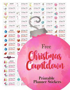 @plannerpickett : Free Christmas countdown calendar planner sticker printable