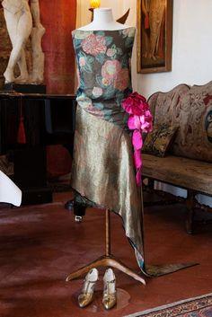 Floral print silk and gold sheath dress. Callot Soeurs, Paris 1929.
