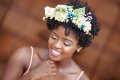 Flower crown on afro 2