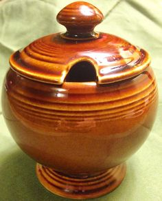"""Vintage Fiesta amberstone marmalade jar.  I never even knew """"amberstone"""" existed!  :P"""