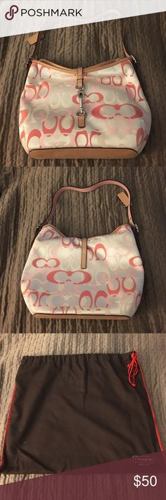 Pink and white Coach Bag Pink and white coach bag with brown leather straps Coach Bags Shoulder Bags