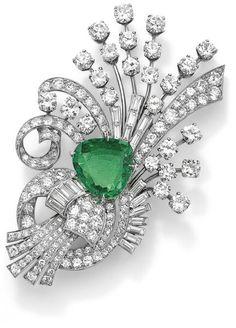 An emerald and diamond brooch, by Yard
