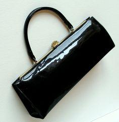 60's Mad Men Handbag Vintage Black Patent Purse Retro Mod Women's Fashion