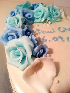 Blue Fondant roses
