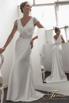 Fitted sleek Wedding Dress by Finesse Bridal Wear in Listowel, #KerryWedding #Finesse #SlinkyDress