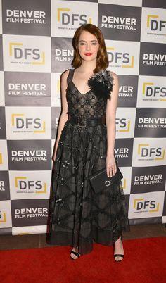 Emma Stone en Chanel à l'avant première du film La La Land au 39ème Festival du film à Denver le mecredi 2 novembre 2016