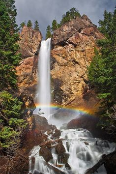 Mist Rainbow at Treasure Falls - Near Pagosa Springs, Colorado Stock id #1413