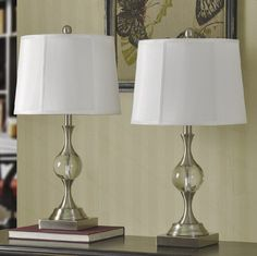 Set Of 2 Table Lamps Pair Crystal Steel Bedside Lights Cream Lamp Shade Lighting